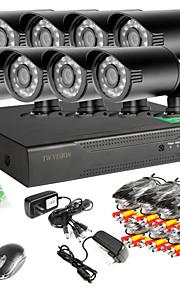 8-kanaals 960H netwerk dvr 8 stuks 1000tvl ir outdoor CCTV camera systeem