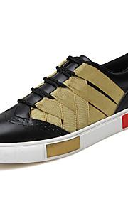 Черный / Белый-Мужская обувь-Для прогулок / Для офиса / На каждый день-Кожа / Саржа-Кроссовки