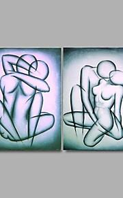 Peint à la main Nu Modern,Deux Panneaux Peinture à l'huile Hang-peint