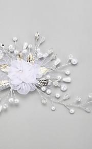 Femme / Jeune bouquetière Alliage / Imitation de perle / Mousseline Casque-Mariage / Occasion spéciale Fleurs 1 Pièce Blanc Rond
