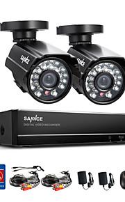 sannce® 4ch volledige 960H realtime cctv dvr videobewaking recorder met 800tvl nachtzicht weerbestendige camera's
