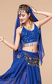 Performance Outfits Women's Performance Chiffon Paillettes 4 Pieces Blue / Fuchsia / Purple / Red / Royal Blue / Yellow