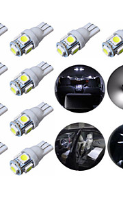 10stk t10 5smd 5050 bil førte auto lampe 12v 1w xenon pærer