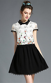 Plus Size Womens Clothing Elegant Bead Embroidered Patchwork Lace Color Block A-Line Dress