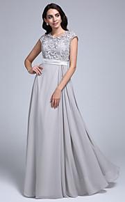 2017 ts couture® balen formell klänning slida / kolumn juvel golv längd chiffong / spets med spets