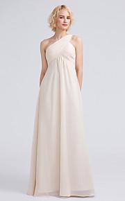 Lanting Bride Floor-length Chiffon Bridesmaid Dress Sheath / Column One Shoulder with Criss Cross / Ruching