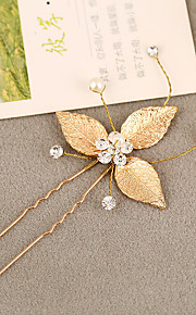 Femme Strass / Laiton / Alliage / Imitation de perle Casque-Mariage Epingle à Cheveux 1 Pièce Argent / Blanc Rond 19
