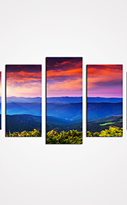 5 Panels Warm Sunset Clouds and the Blue Mountain Canvas Print Art Modern Wall Art for Home Decor Unframed