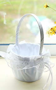 White Satin with Rhinestone Double Heart Decoration Flower Basket for Wedding Party(12*12*24cm)