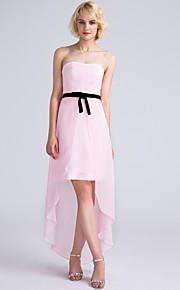 Lanting Bride Asymmetrical Chiffon Bridesmaid Dress Sheath / Column Strapless with Bow(s)