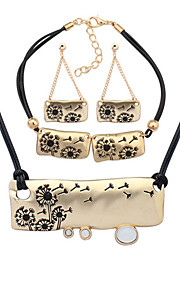 Европейский стиль моды металла простой одуванчик ожерелье браслет серьги наборы