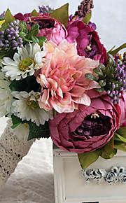 Wedding Flowers Free-form Roses / Peonies Biadal Bouquets Wedding Multi-color Satin