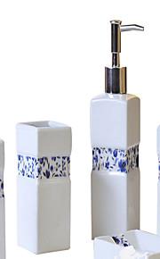 azul y blanco porcelana patrón de baño de cinco piezas traje + Caja