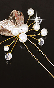 Women's  Gold Leaf Olive Shape Hair Stick Pin for Wedding Party Hair Jewelry with Pearl Crytsal