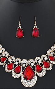женские Европейский стиль моды роскошь металлические блестящие стразы Gemstone ожерелье наборы серьги