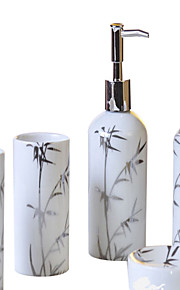 plata cilíndrica de bambú patrón de baño de cinco piezas caja de juego +