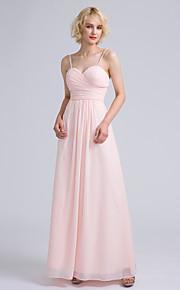 Lanting Bride Ankle-length Chiffon Bridesmaid Dress Sheath / Column Spaghetti Straps with Criss Cross / Ruching