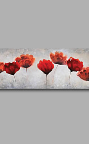 "Stretched (Ready to hang) Hand-Painted Oil Painting 48""x16"" Canvas Wall Art Modern Abstract Flowers Red"