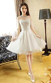 Knee-length Tulle Bridesmaid Dress Princess Jewel with Beading / Draping