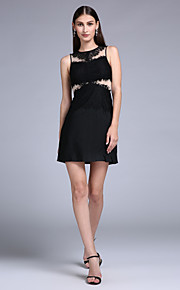 TS Couture® Cocktail Party Dress - Little Black Dress Sheath / Column Jewel Short / Mini Jersey with Lace