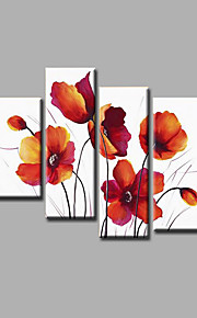 "Stretched (Ready to hang) Hand-Painted Oil Painting 56""x48"" Canvas Wall Art Modern Abstract Flowers Red"