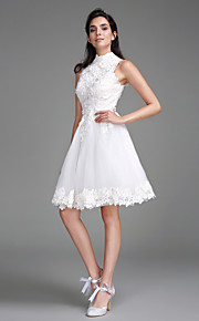 Lanting Bride A-line Wedding Dress Knee-length High Neck Lace with Lace