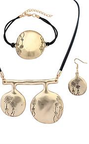 Европейский стиль мода простой металл круговой цветок набор браслет ожерелье серьги