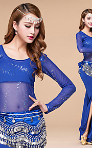 Belly Dance Outfits Women's Performance Paillettes / Sash/Ribbon 3 Pieces Black / Blue / Fuchsia / Red Long Sleeve