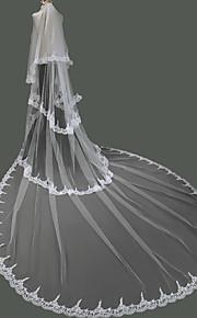 Véus de Noiva Duas Camadas Véu Catedral Borda com aplicação de Renda Tule / Renda Marfim Marfim