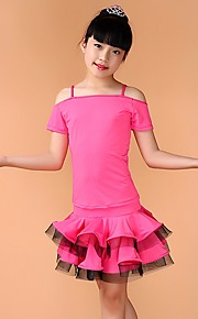 Latin Dance Outfits Children's Performance Spandex Pleated 3 Pieces Black / Blue / Fuchsia / Green / Yellow