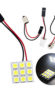 10st koel wit 5050 9SMD LED-paneel lichtkoepel auto lezen lamp (12V)