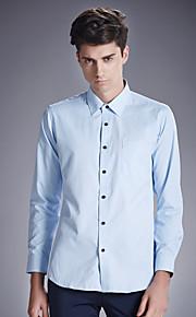 Camisa De los hombres Un Color Casual-Algodón-Manga Larga-Azul / Blanco