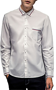 Camisa De los hombres Un Color Casual-Algodón-Manga Larga-Azul / Blanco / Gris