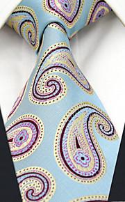 Men's Tie  Blue Jacquard Woven 100% Silk Business Dress Casual Long