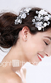 Women's Acrylic / Plastic Headpiece-Wedding / Special Occasion Flowers 2 Pieces Silver Pear 0