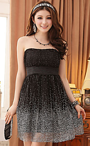 Knee-length Tulle / Polyester Bridesmaid Dress A-line Strapless with Pattern / Print