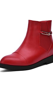 Women's Boots Fall / Winter Bootie / Pointed Toe PU Office & Career / Casual Low Heel Zipper Black / Red Others