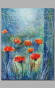 Light Blue And Red Poppy Flowers Artwork Canvas Framed Painting Modern Handpainted