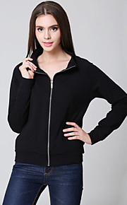 Women's Casual/Daily Simple Fall Jackets,Solid Stand Long Sleeve Black Cotton Opaque