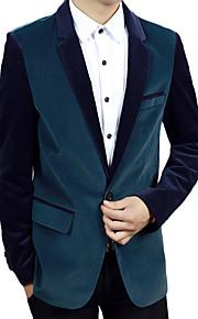 남성의 자켓 컬러 블럭 긴 소매 캐쥬얼 / 작업/오피스 / 정장 레이온,블랙 / 블루 / 옐로