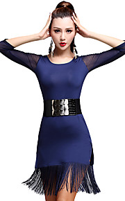 Latin Dance Dresses Women's Training Tassel(s) 1 Piece Latin Dance 3/4 Length Sleeve High Dress