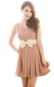 Women's Going out Sexy / Vintage Dress,Solid Above Knee Sleeveless Pink Polyester All Seasons / Spring / Summer / Fall / Winter