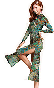 Belly Dance Dresses Women's Performance Spandex Pattern/Print 1 Piece Multi-color Belly Dance Long Sleeve Natural Dress