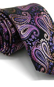 Men's Paisley  Tie  Purple Jacquard Woven 100% Silk Business Dress Casual Long