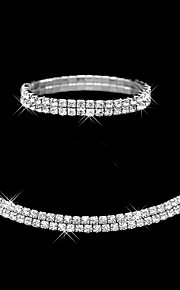 女性のフルクリスタルチョーカーネックレステニスのストレッチブレスレットの結婚式の宝石類セット(2個)