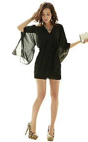 Women's Club Sheath / Chiffon Dress,Solid V Neck Above Knee ¾ Sleeve Red / Black Polyester All Seasons