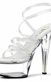 Homme-Mariage / Soirée & Evénement / Habillé-Noir / Transparent-Talon Aiguille-Talons / Sandales-Chaussures à Talons-PVC