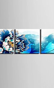 E-HOME® Stretched Canvas Art Blue Flowers Decoration Painting  Set of 3