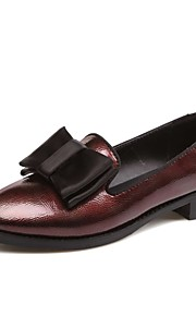 Women's Flats Summer / Pointed Toe Patent Leather Outdoor / Office & Career / Casual Flat Heel Bowknot Black / Burgundy