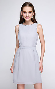 Lanting Bride Short / Mini Chiffon Bridesmaid Dress - Color Block Sheath / Column Jewel with Beading
